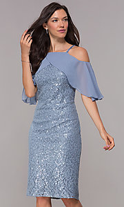 Image of coronet blue sequin-lace short wedding-guest dress. Style: IT-SL119101 Front Image