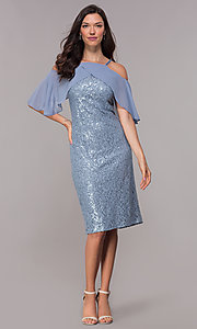 Image of coronet blue sequin-lace short wedding-guest dress. Style: IT-SL119101 Detail Image 3
