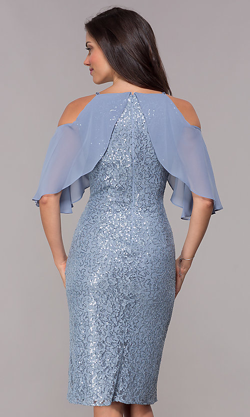 Image of coronet blue sequin-lace short wedding-guest dress. Style: IT-SL119101 Back Image