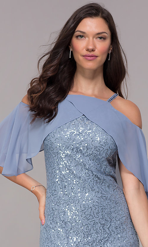 Image of coronet blue sequin-lace short wedding-guest dress. Style: IT-SL119101 Detail Image 1