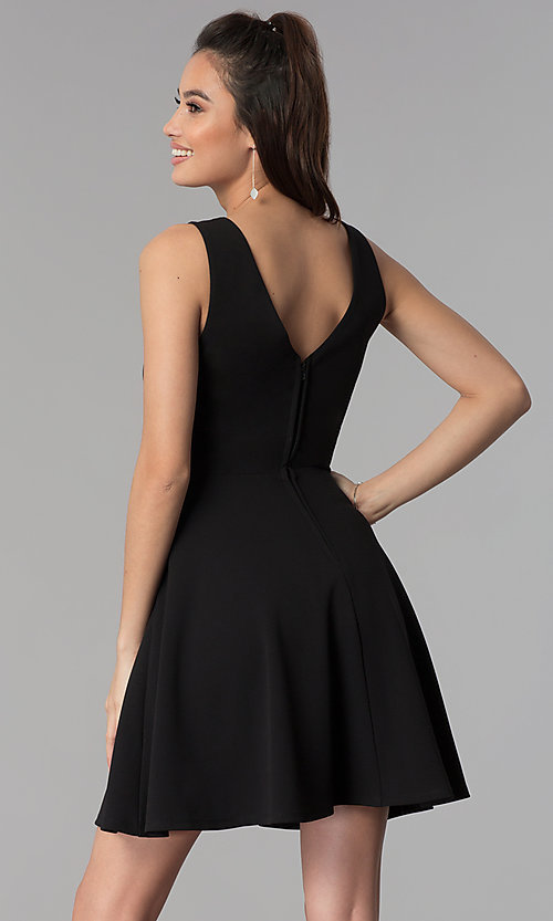 Image of short black v-neck cocktail party dress. Style: CT-7711QQ2AT3 Back Image