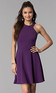 Image of grape purple short a-line wedding guest party dress. Style: CT-7711NH1BT3 Front Image