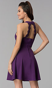 Image of grape purple short a-line wedding guest party dress. Style: CT-7711NH1BT3 Back Image