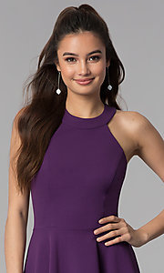 Image of grape purple short a-line wedding guest party dress. Style: CT-7711NH1BT3 Detail Image 1