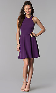 Image of grape purple short a-line wedding guest party dress. Style: CT-7711NH1BT3 Detail Image 3