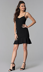 Image of short empire-waist black party dress. Style: CT-7711PD7AT3 Detail Image 3