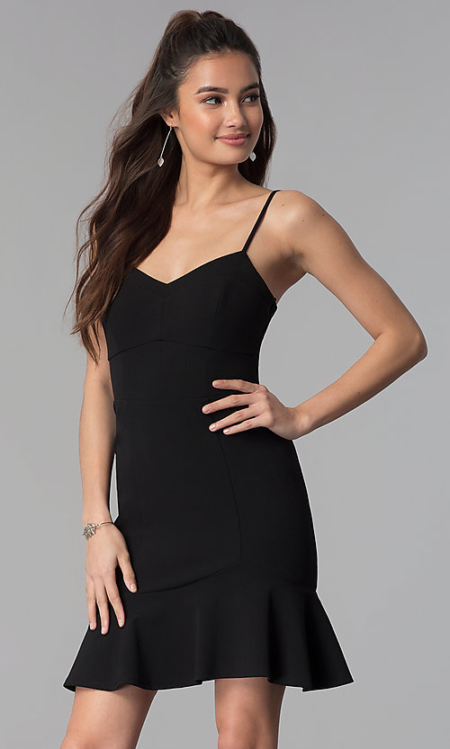 Image of short empire-waist black party dress. Style: CT-7711PD7AT3 Front Image