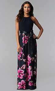 Image of long wedding-guest dress with floral-print skirt. Style: IT-SL171107 Front Image