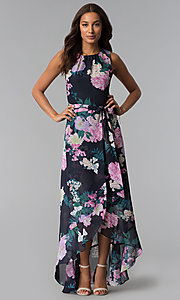 Image of high-low print wedding-guest dress with belt. Style: IT-SL171131 Detail Image 1