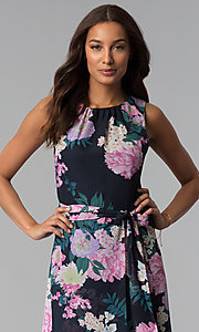 Image of high-low print wedding-guest dress with belt. Style: IT-SL171131 Detail Image 2