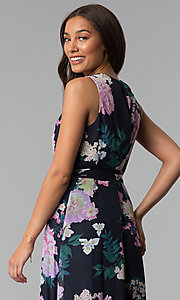 Image of high-low print wedding-guest dress with belt. Style: IT-SL171131 Detail Image 3