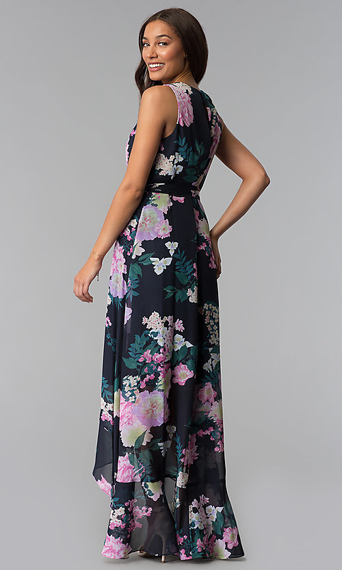 Image of high-low print wedding-guest dress with belt. Style: IT-SL171131 Back Image