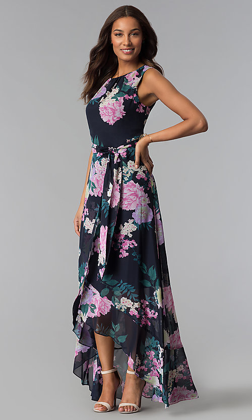 Image of high-low print wedding-guest dress with belt. Style: IT-SL171131 Front Image