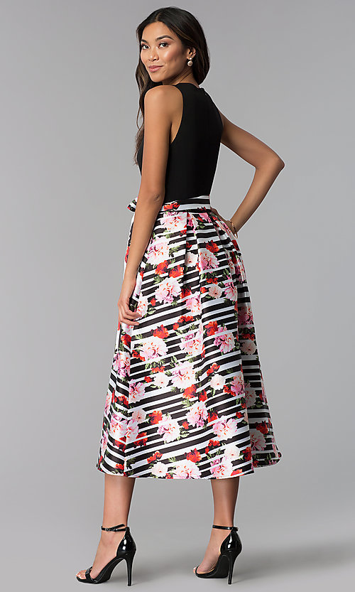 Image of tea-length wedding guest dress with print skirt. Style: IT-SL159116 Back Image