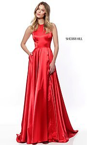 Image of high-neck long Sherri Hill prom dress. Style: SH-52120 Front Image