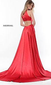 Image of high-neck long Sherri Hill prom dress. Style: SH-52120 Back Image