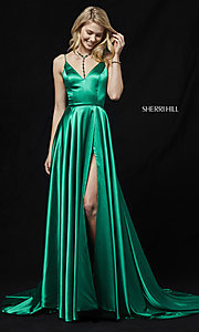 Image of Sherri Hill prom dress with long faux-wrap skirt. Style: SH-52119 Detail Image 1