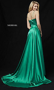 Image of Sherri Hill prom dress with long faux-wrap skirt. Style: SH-52119 Back Image