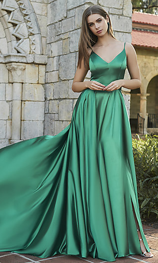 Prom Dress with Long Faux-Wrap Skirt