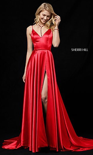 Sherri Hill Prom Dress with Long Faux-Wrap Skirt