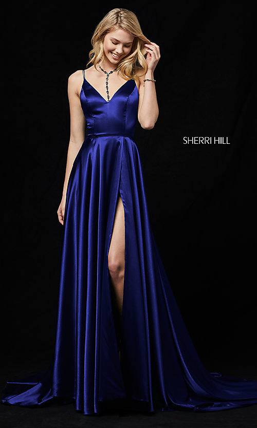 Image of Sherri Hill prom dress with long faux-wrap skirt. Style: SH-52119 Detail Image 3
