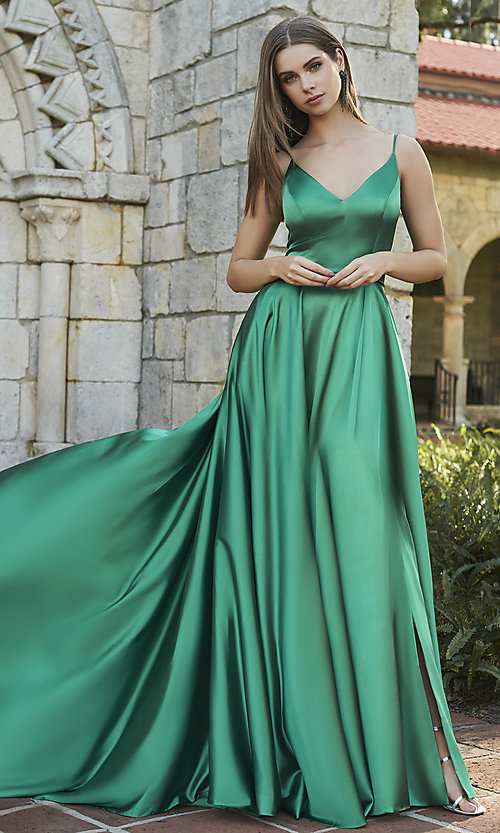 Image of prom dress with long faux-wrap skirt. Style: SH-52119 Front Image