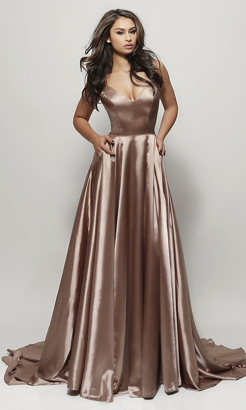 Image of Sherri Hill prom dress with long faux-wrap skirt. Style: SH-52119 Detail Image 2