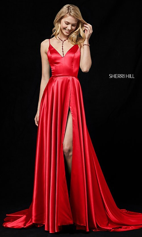 Image of Sherri Hill prom dress with long faux-wrap skirt. Style: SH-52119 Front Image