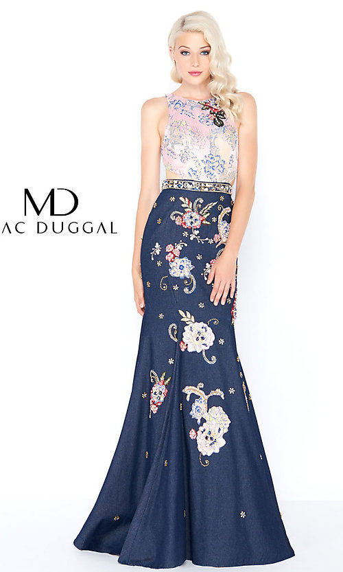 Long Denim Prom Dress with a Back Cut-Out