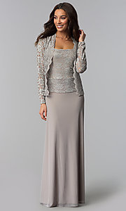 Image of lace-bodice mother-of-the-bride dress with jacket. Style: JU-ON-649852 Detail Image 3