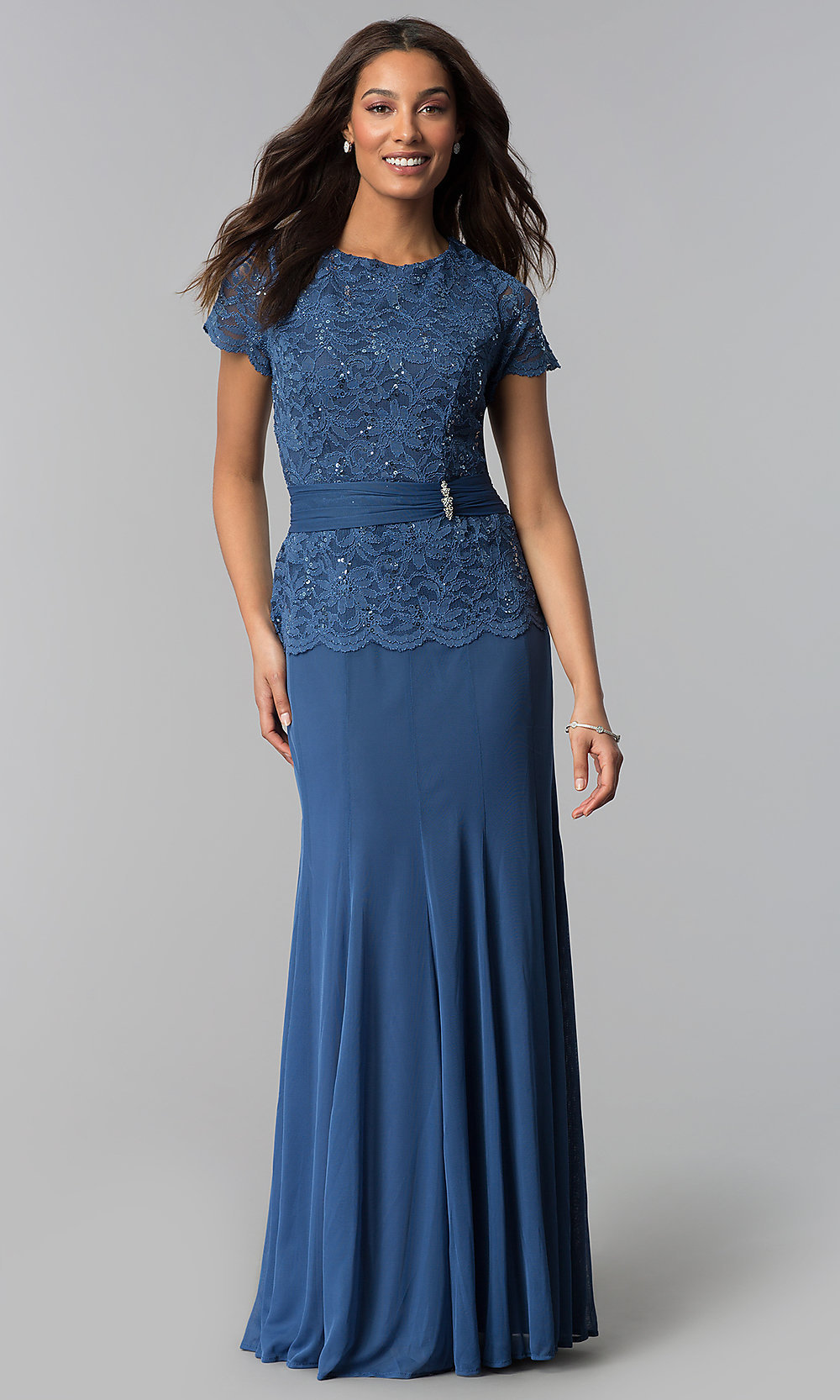 Periwinkle Blue Mother-of-the-Bride Dress - PromGirl