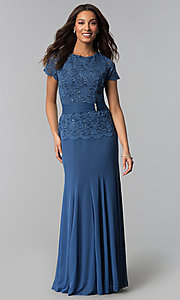Image of long periwinkle blue mother-of-the-bride dress. Style: JU-ON-649944 Front Image
