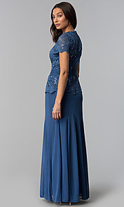Image of long periwinkle blue mother-of-the-bride dress. Style: JU-ON-649944 Back Image