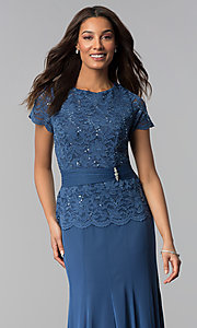 Image of long periwinkle blue mother-of-the-bride dress. Style: JU-ON-649944 Detail Image 1