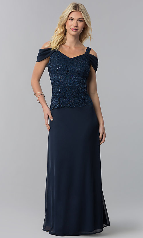 Image of long cold-shoulder mother-of-the-bride dress. Style: JU-ON-650015 Detail Image 3