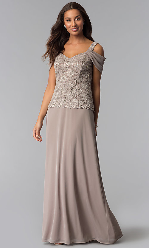 Image of long cold-shoulder mother-of-the-bride dress. Style: JU-ON-650015 Front Image