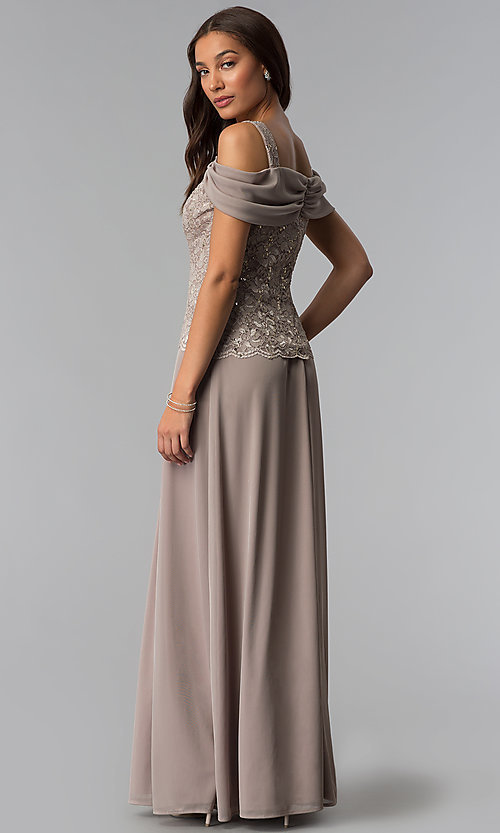 Image of long cold-shoulder mother-of-the-bride dress. Style: JU-ON-650015 Back Image
