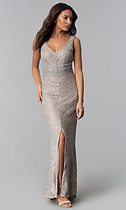 Image of v-neck long taupe mother-of-the-bride dress. Style: JU-ON-649989 Front Image