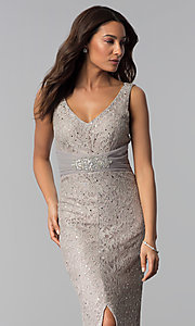 Image of v-neck long taupe mother-of-the-bride dress. Style: JU-ON-649989 Detail Image 1
