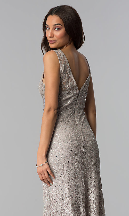 Image of v-neck long taupe mother-of-the-bride dress. Style: JU-ON-649989 Detail Image 2