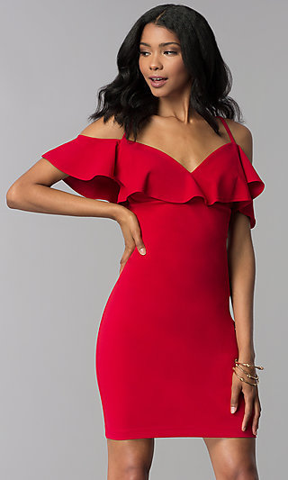 Red Off-Shoulder Short Party Dress with Straps