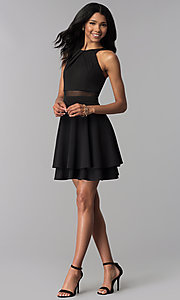 Image of short sheer-waist tiered-skirt party dress. Style: EM-FZK-3405-001 Detail Image 3