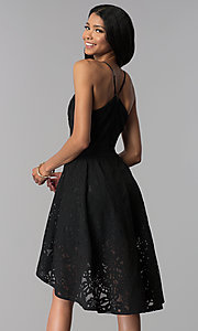 Image of black high-low lace wedding-guest party dress. Style: EM-FYU-3773-001 Back Image