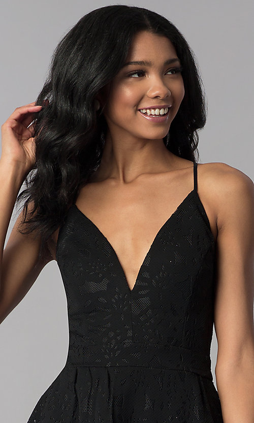 Image of black high-low lace wedding-guest party dress. Style: EM-FYU-3773-001 Detail Image 1