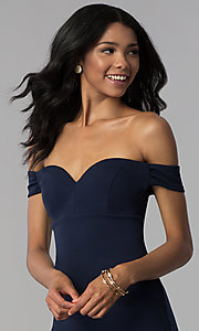 Image of short navy empire-waist off-shoulder party dress. Style: EM-FZT-3405-430 Detail Image 1