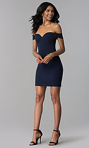 Image of short navy empire-waist off-shoulder party dress. Style: EM-FZT-3405-430 Detail Image 3