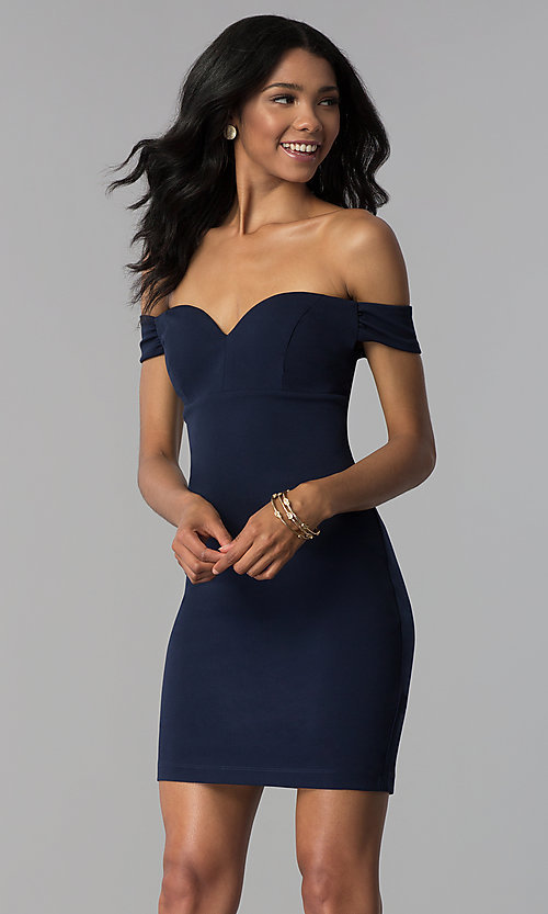 Image of short navy empire-waist off-shoulder party dress. Style: EM-FZT-3405-430 Front Image