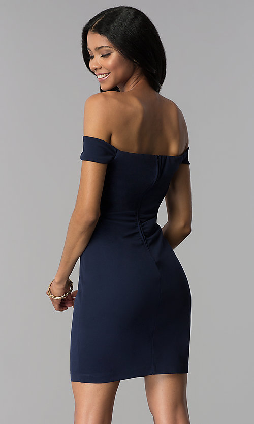 Image of short navy empire-waist off-shoulder party dress. Style: EM-FZT-3405-430 Back Image