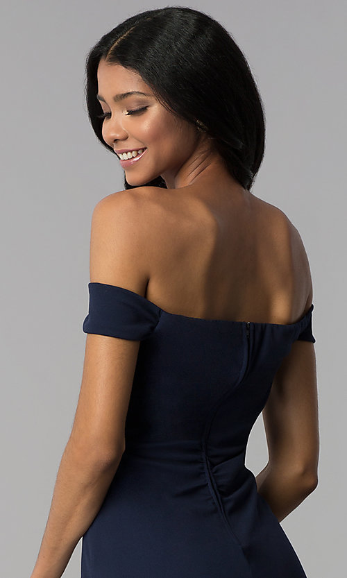Image of short navy empire-waist off-shoulder party dress. Style: EM-FZT-3405-430 Detail Image 2