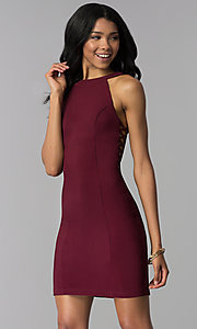 Image of wine red short party dress with racer front and back. Style: EM-EOS-1027-562 Front Image
